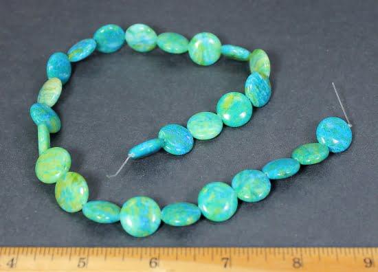 B103C Chrysocolla Dyed Circular Beads