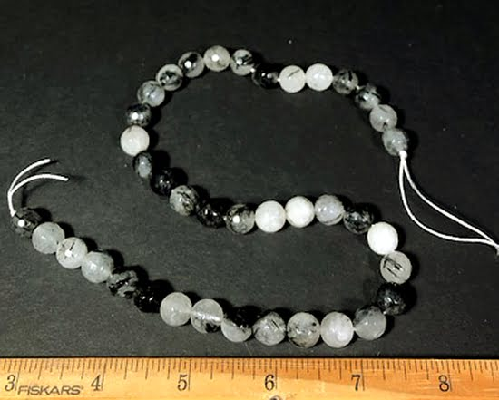 B204B Tourmilated Quartz Round Beads