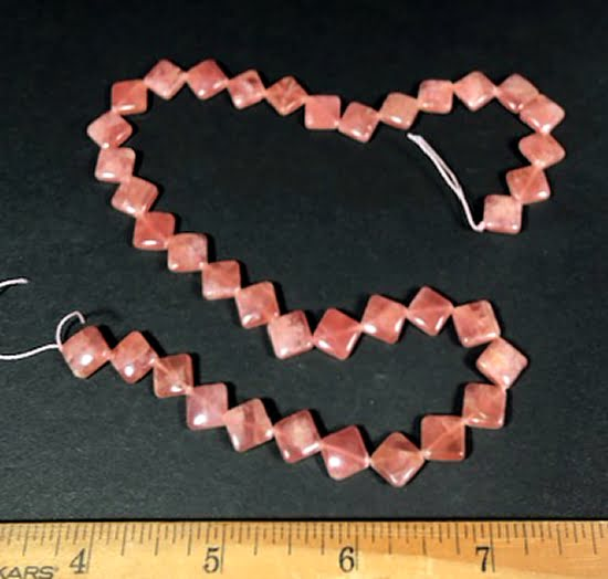 B301 Rhodocrosite Diamond Beads