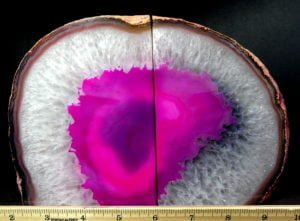 Pink (color enhanced) Brazilian Agate Geode bookends