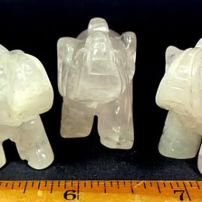 Rose Quartz carving of an Elephant