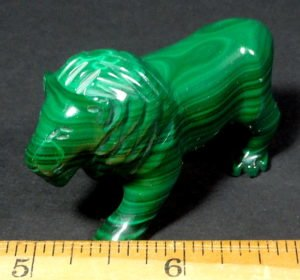 Lion carved from Malachite from Zaire, Africa