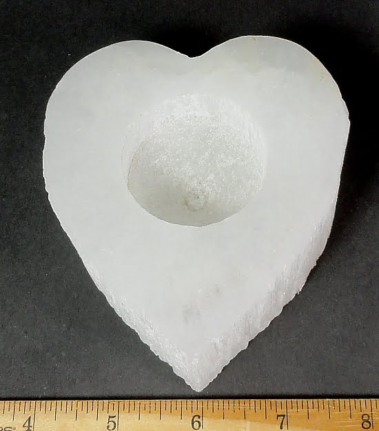 heart shaped Tea Light Candle Holder made from Selenite