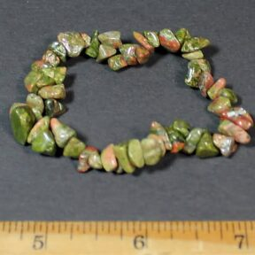 Unakite stretch chip bead bracelet