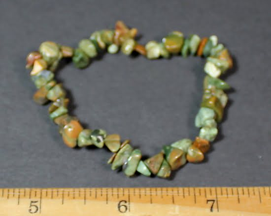 Rainforest Jasper stretch bracelet with chip beads
