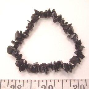 Black Agate stretch bracelet with gemstone chip beads