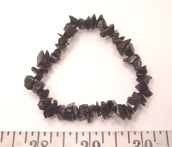 Black Agate stretch bracelet with gemstone chip beads