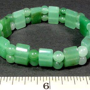 Green Aventurine stretch bracelet made with round and half circle gemstone beads