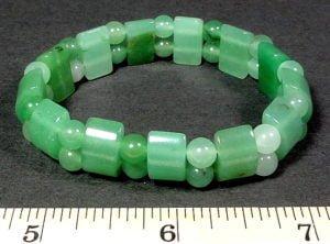 Green Aventurine stretch bracelet made with round and half circle gemstone beads
