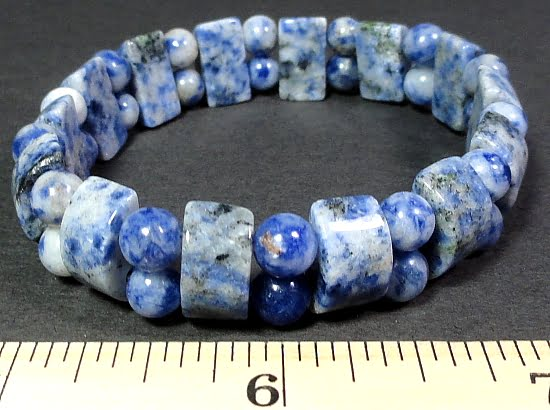 bracelet with half circle and round Sodalite beads