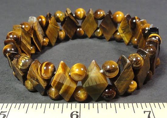 stretch bracelet made with diamond shape and round Tiger Eye beads