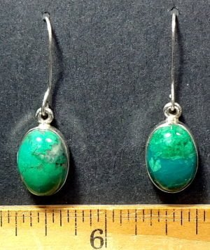 Chrysocolla Earrings mounted in a Sterling Silver setting