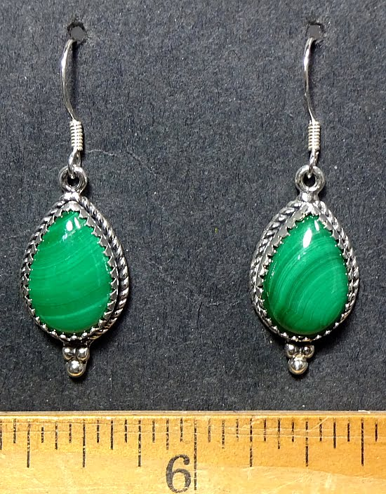 Malachite Earrings mounted in a Sterling Silver setting