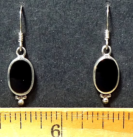 Black Onyx Earrings mounted in a Sterling Silver setting