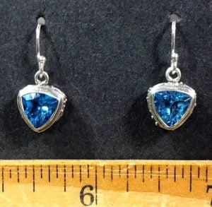Blue Topaz earrings mounted in a Sterling Silver setting