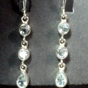 Aquamarine Amethyst Earrings mounted in a Sterling Silver setting