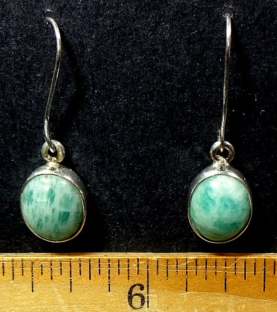 Amazonite earrings mounted in a Sterling Silver setting