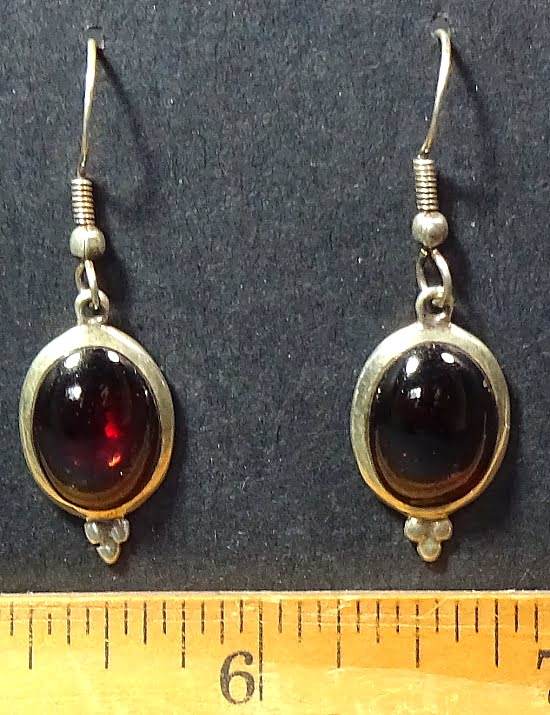 Garnet Earrings mounted in a Sterling Silver setting