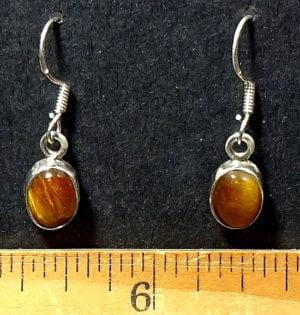 Tiger Eye Earrings mounted in a Sterling Silver setting
