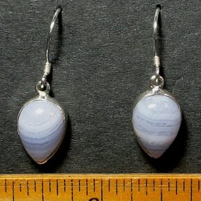 Blue Lace Agate Earrings mounted in a Sterling Silver setting