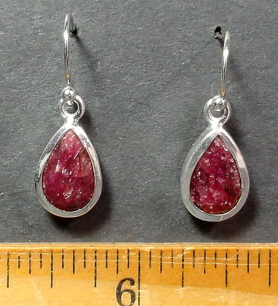 Ruby Earrings mounted in a Sterling Silver setting
