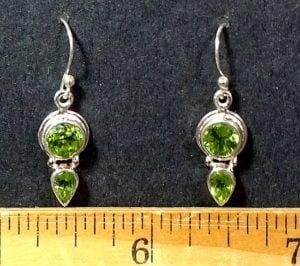 Peridot Earrings mounted in a Sterling Silver setting