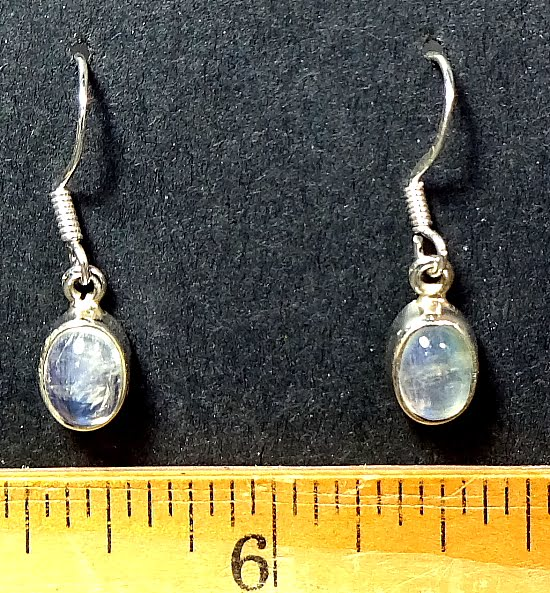 Moonstone Earrings mounted in a Sterling Silver setting