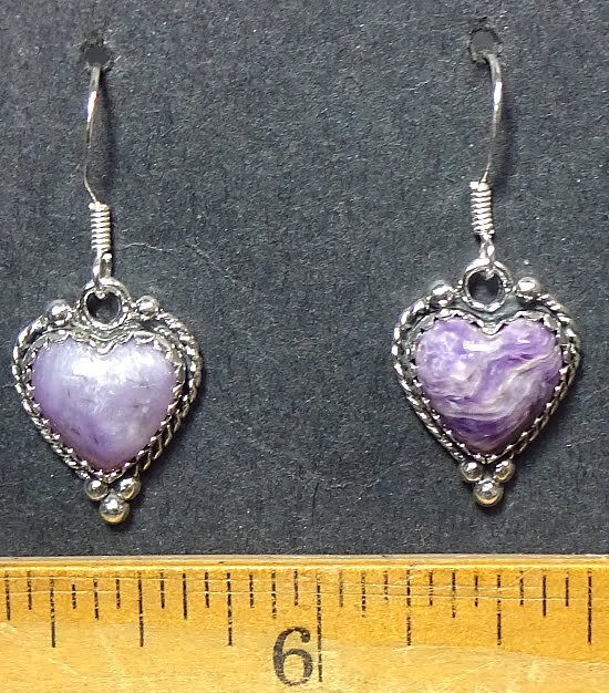 Charoite Earrings mounted in a Sterling Silver setting