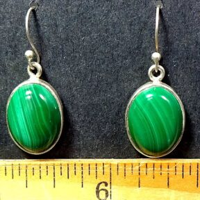 Malachite Earrings mounted in a Sterling Silver setting