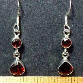 Garnet Earrings mounted in a Sterling Silver setting