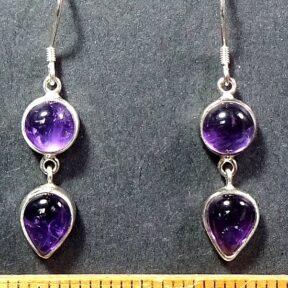 Amethyst Earrings mounted in Sterling Silver settings