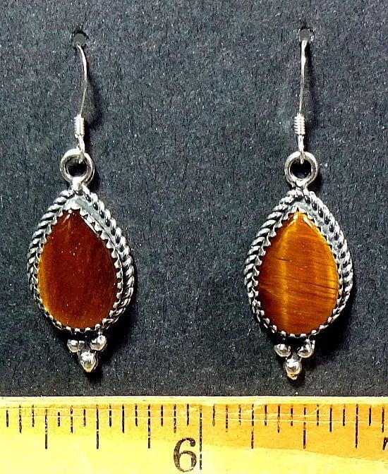 Tiger-Eye Earrings mounted in a Sterling Silver setting