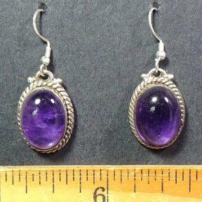 Amethyst Earrings mounted in a Sterling Silver setting