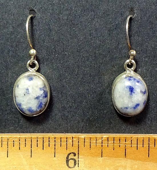 Sodalite earrings mounted in a Sterling Silver setting