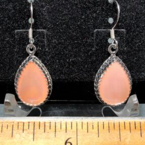 Peach Mother-of-Pearl Earrings mounted in a Sterling Silver setting