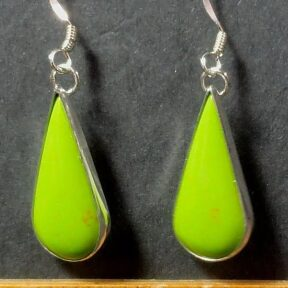 Faux Gaspeite Earrings mounted in a Sterling Silver setting