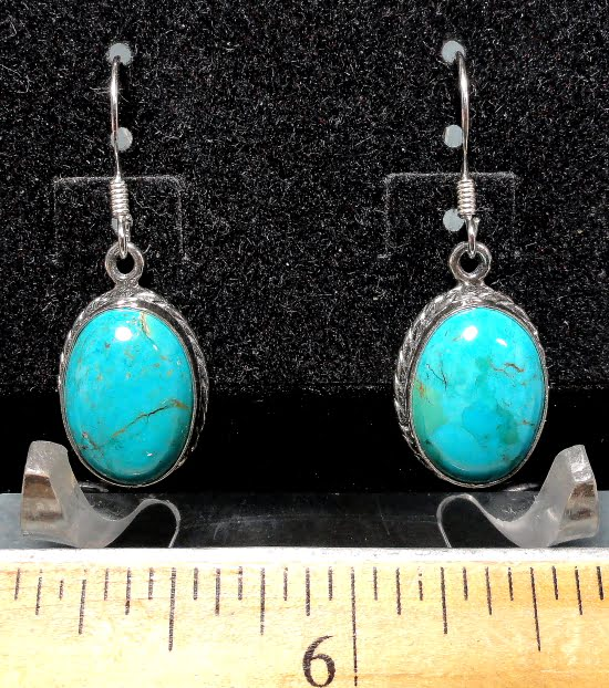 Turquoise Earrings mounted in a Sterling Silver setting