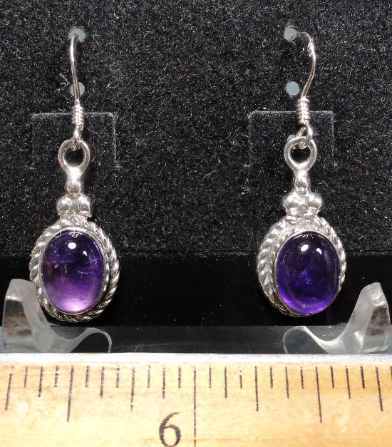 Amethyst Earrings mounted in a Sterling Silver setting