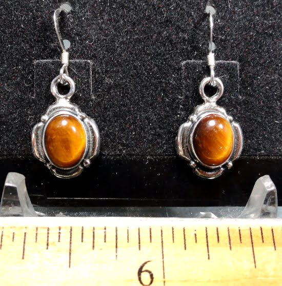 Tiger Eye Earrings mounted in a Sterling Silver setting