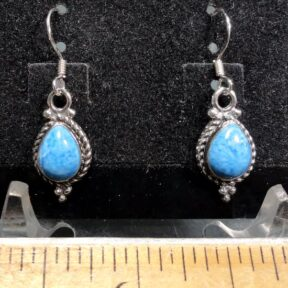 Blue Apatite Earrings mounted in a Sterling Silver setting