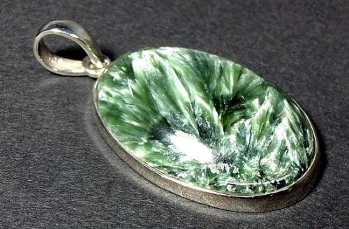 Seraphenite pendant set in a sterling silver setting