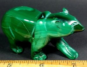 Malachite Bear carving from Zaire, Africa.