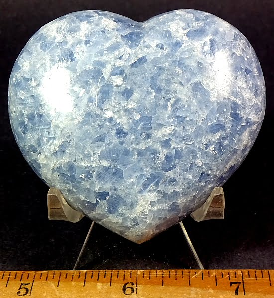 Blue Calcite heart carved from Madagascar